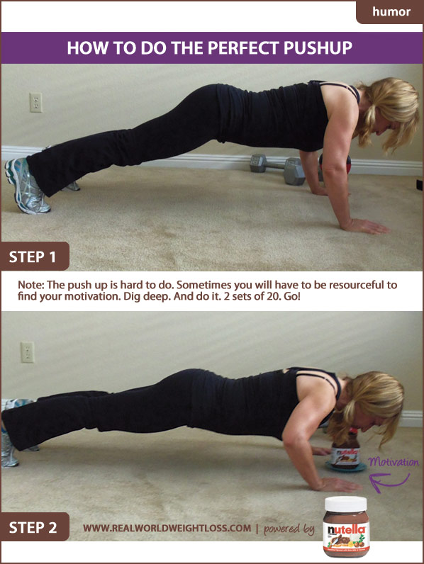 Pushups with chocolate spread