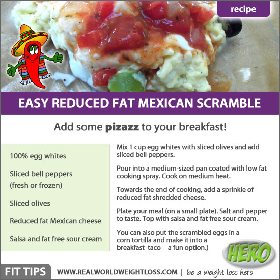 Healthy Mexican scrambled eggs for breakfast